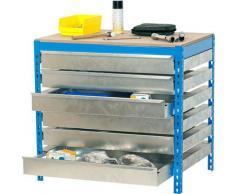 Banc de travail avec tiroir bleu/bois 84,2x151x76cm 600 kgs par niveau