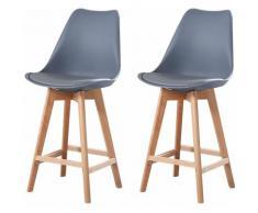 ALIX - Lot de 2 tabourets scandinave - Gris - pieds en bois massif design salle a manger salon - 58