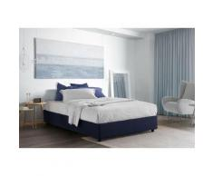 Lit Coffre Silvia double, Made in Italy, en tissu amovible, cm 140x200, ouverture frontale, Bleu,