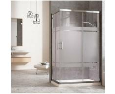 Cabine de douche rectangulaire à fermeture angulaire. 2 portes coulissantes et 2 panneaux fixes.