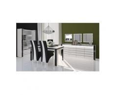 Price Factory - Salle à manger complète LINA blanche et noire. Buffet + Vaisselier + Table 180 cm +