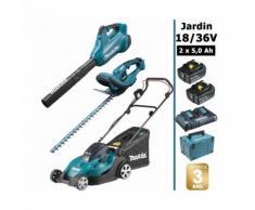 Pack 18/36V: tondeuse 36V 43cm + Taille-haie 18V 52 cm + souffleur 36V + 2 batt 5Ah MAKITA DLM431