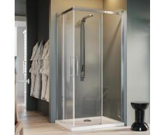 Parois cabine de douche angulaire verre transparent avec easy-clean h 200 mod. Prime Corner 80X80 cm