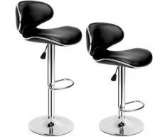 Lot de 2 Chaises de Bar Design Dossier Rembourré Pivotantes et réglables en Hauteur 84 cm - 105 cm