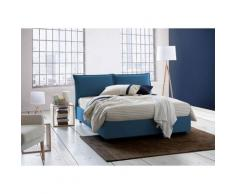 Lit Coffre Veronica double, Made in Italy, en tissu amovible, cm 140x200, ouverture frontale, Bleu,