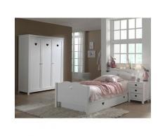 Chambre enfant 4 pièces lit gigogne chevet et armoire 3 portes bois laqué blanc Cœur 90x200 cm