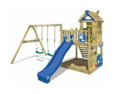 WICKEY Aire de jeux Portique bois Smart Sparkle avec balançoire et toboggan bleu Cabane enfant