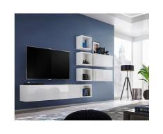 Ensemble meuble TV mural CUBE 7 design coloris blanc et blanc brillant. Meuble de salon suspendu