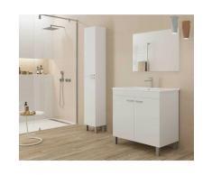 Caesaroo - Meuble de salle de bain sur le sol 80 cm Blanc brillant avec miroir | Blanc - Avec lampe