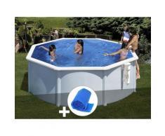 Kit piscine acier blanc Bora Bora ronde 3,20 x 1,22 m + Bâche à bulles - GRÉ