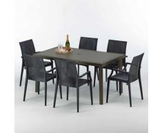 Table rectangulaire 6 chaises Poly rotin resine 150x90 marron Focus | Bistrot Arm Anthracite noir