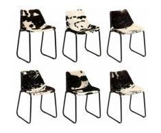 Chaise de salle à manger 6 pcs Cuir véritable de chõ¹vre HDV18210 - Hommoo