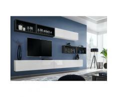 Ensemble meuble TV mural CUBE 14 design coloris blanc et noir. Meuble de salon suspendu - Blanc