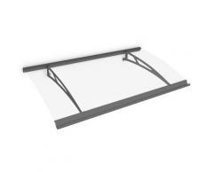 Auvent marquise de porte, 160 x 90 cm, Style Plus, polycarbonate transparent, fixations en acier