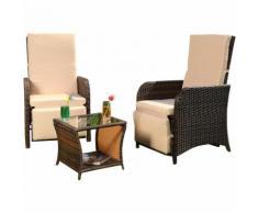 Salon de jardin 2 fauteuils et table, assise, poly-rotin, salon de jardin, lounge, marron