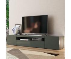 Ahd Amazing Home Design - Meuble TV design avec portes tiroirs à rabat 200cm Daiquiri Anthracite L