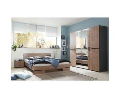 Pegane - Chambre à coucher complète adulte (lit 140x190cm + 2 chevets+armoire) coloris effet bois