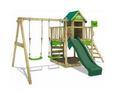 FATMOOSE Aire de jeux Portique bois JazzyJungle avec balançoire et toboggan vert Maison enfant