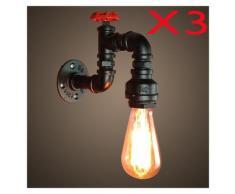 Retro Lampe Murale Industrielle 3PCS E27 LOFT eclairage Decoration Applique Murale Noir
