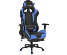 Fauteuil chaise chaise de bureau inclinable avec repose-pied bleu - Bleu
