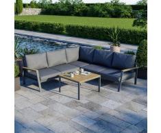Salon de jardin design aluminium bois- Gris - intérieur/extérieur - DOMA
