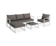Salon de jardin 5 places Acatium en aluminium, structure blanche et coussins taupe, design et