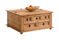 Idimex - Table basse de salon TEQUILA coffre malle de rangement rectangulaire en bois style