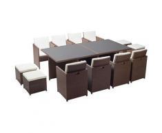 Monaco 12 : salon de jardin encastrable 12 places en résine tressée marron/blanc