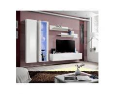 Meuble TV FLY A4 design, coloris blanc brillant + LED. Meuble suspendu moderne et tendance pour