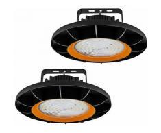 2×Anten 200W UFO Projecteur LED Dimmable Projecteur LED d'éclairage Industriel Suspension IP65