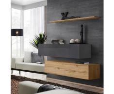 Price Factory - Ensemble meubles de salon SWITCH SBII design, coloris chêne Wotan et gris brillant.