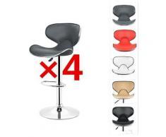 ® Tabouret de bar lot de 4 en similicuir avec siège bien rembourré, tabourets réglable, gris - gris