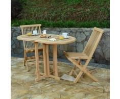 Teck'attitude - Table pliante ovale en teck Ecograde Manoï 120 x 60 cm pour balcon - Naturel