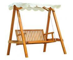 Balancelle balancoire hamac banc fauteuil de jardin bois de pin 2 places charge max. 300kg
