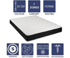 Matelas Latex 80 Kg/m3 + Aertech+ 35 Kg/m3 80x200 x 20 cm Ferme 7 Zones de Confort - Trés Respirant