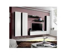 Meuble TV FLY C1 design, coloris noir et blanc brillant. Meuble suspendu moderne et tendance pour