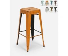 Tabouret vintage en métal design industriel pour bar et cuisine style Tolix Steel Stale | Orange