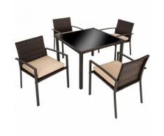 Salon de Jardin 4 Personnes 4 Chaises avec Coussins + 1 Table en Résine Tressée Cadre en Acier
