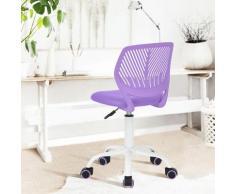 Chaise enfant étudiant ergonomique réglable roulant métal violet blanc