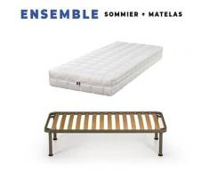 Matelas 200x200 + Sommier Démonté + pieds + Oreiller Mémoire + Protège matelas Offerts - Latex