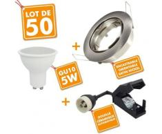 50 x Spot encastrable orientable Acier Brossé complet LED 5W eq 40W   Température de Couleur: Blanc