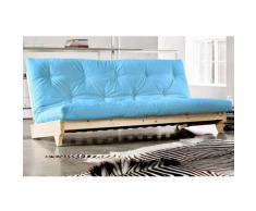 Banquette convertible futon FRESH pin coloris bleu clair couchage 140*200 cm. - bleu