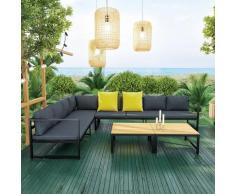 Salon modulable relevable de jardin en aluminium design convertible- Gris Noir- TORINO - Gris