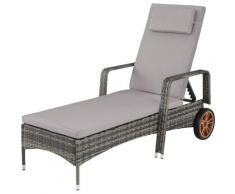 Tectake - Bain de soleil aluminium BIARRITZ 6 positions avec roulettes - chaise longue, transat