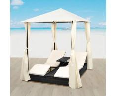 VDTD27356_FR Chaise longue double avec rideaux Résine tressée Noir - Topdeal
