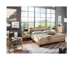 Pegane - Chambre à coucher complète adulte (lit 160x200 cm + 2 chevets + commode) coloris chêne