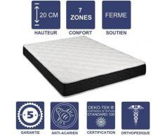 Matelas Latex 80 Kg/m3 + Aertech+ 35 Kg/m3 + Alése 140x200 x 20 cm Ferme 7 Zones de Confort - Trés