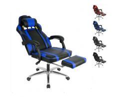 Fauteuil de bureau chaise pour ordinateur avec repose-pied pliable dossier réglable PU bleu - bleu