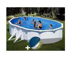 Kit piscine acier blanc Gré Bora Bora ovale 6,34 x 3,99 x 1,22 m + Bâche hiver