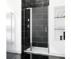 SIRHONA Porte de douche 116 x 185 cm porte pivotante en niche avec étagère en verre - FFP76+FEXT40S